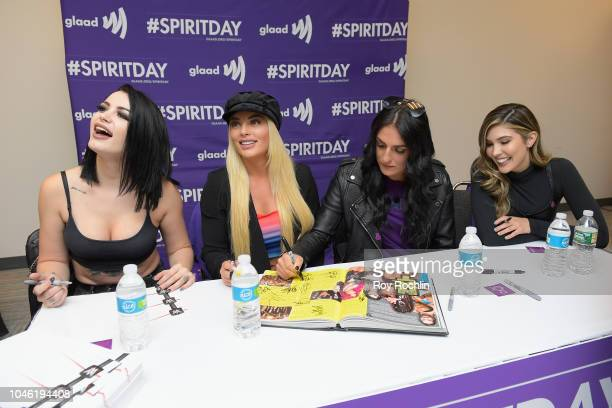 Paige Mandy Rose Sonya DeVille and Cathy Kelley attend Meet WWE Superstars during 2018 New York Comic Con at The Queer Lounge at Javits Center on...