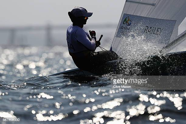 Paige Railey of the United States competes during the Women's Laser Radial races on Day 3 of the Rio 2016 Olympic Games at Marina da Gloria on August...