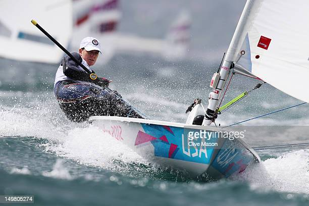 Paige Railey of the United States competes in the Laser Radial Women's Sailing on Day 8 of the London 2012 Olympic Games at the Weymouth Portland...