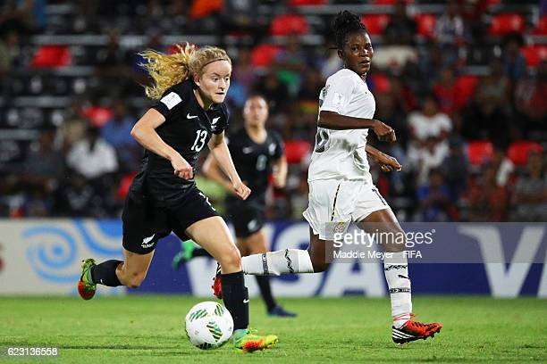 Paige Satchell of New Zealand dribbles against Rasheda AbdulRahman of Ghana during the second half of their Group C match of the FIFA U20 Women's...