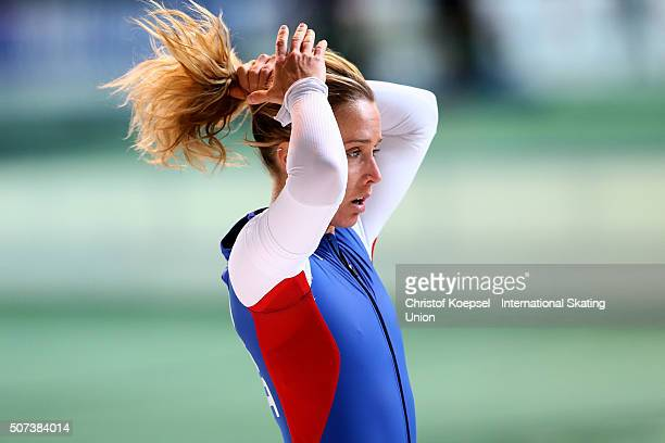Paige Schwartzburg of United States is seen after the 1000m ladies first race Divison B during Day 1 of ISU Speed Skating World Cup at Soermarka...