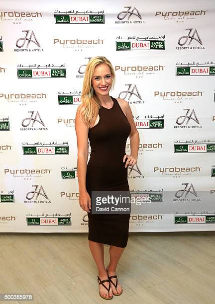 Paige Spiranac of the United States during the welcome party at the Puro Beach Pool area at the Jebel Ali Golf Spa Resort as a preview for the 2015...