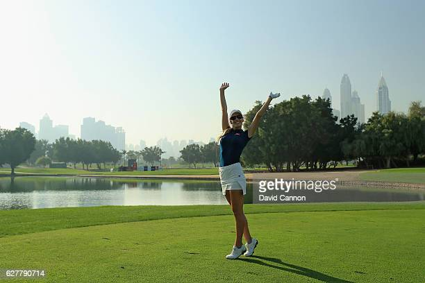 Paige Spiranac of the United States enjoying herself during her practice round as a preview for the 2016 Omega Dubai Ladies Masters on the Majlis...