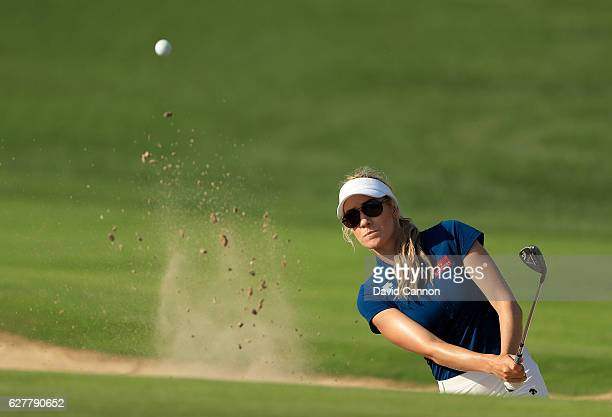 Paige Spiranac of the United States in action during her practice round as a preview for the 2016 Omega Dubai Ladies Masters on the Majlis Course at...