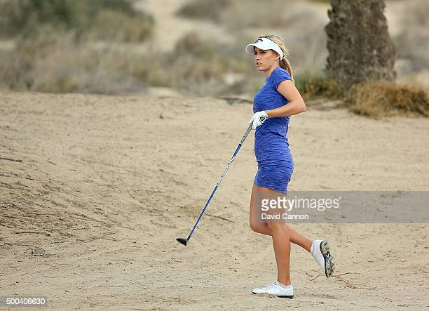 Paige Spiranac of the United States in action during the pro-am as a preview for the 2015 Omega Dubai Ladies Masters on the Majlis Course at The...