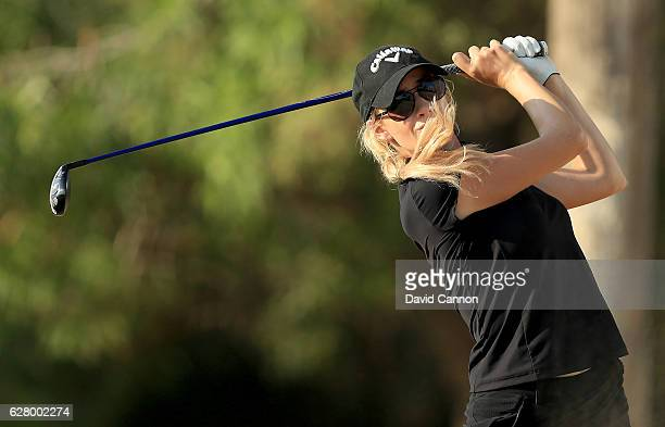 Paige Spiranac of the United States in action during the pro-am as a preview for the 2016 Omega Dubai Ladies Masters on the Majlis Course at the...