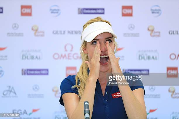 Paige Spiranac of the United States is overcome by emotion whilst talking about being a victim of Cyber Bullying during her press conference as a...