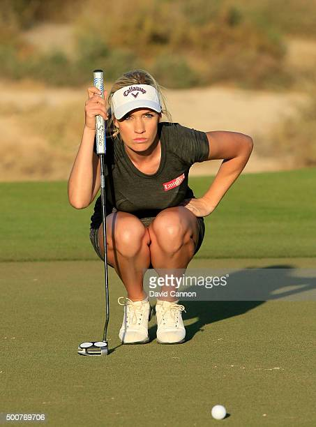 Paige Spiranac of the United States lines up a putt for par on the par 3, 15th hole during the second round of the 2015 Omega Dubai Ladies Masters on...