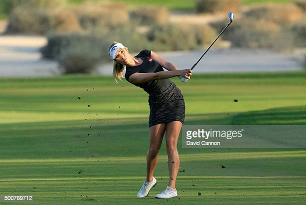 Paige Spiranac of the United States plays her second shot on the par 4, 16th hole during the second round of the 2015 Omega Dubai Ladies Masters on...