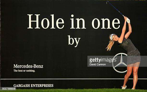 Paige Spiranac of the United States plays her tee shot on the par 3 15th hole during the second round of the 2015 Omega Dubai Ladies Masters on the...
