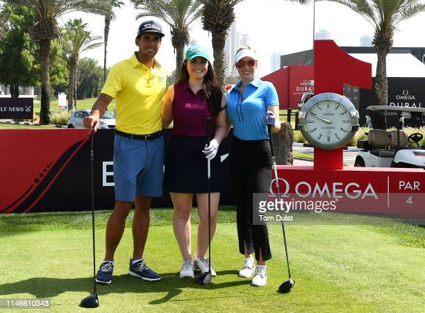 Paige Spiranac of United States competition winner Sara Wiedenhaefer and Rafa Cabrera Bello of Spain pose for photographs during Day Three of the...