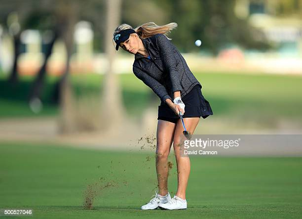 Paige Spiranac of United States plays her fourth shot at the par 5, 10th hole during the first round of the 2015 Omega Dubai Ladies Masters on the...