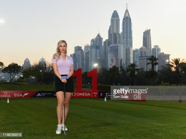 Paige Spiranac of United States poses for photographs on Day One of the Omega Dubai Moonlight Classic at Emirates Golf Club on May 01, 2019 in Dubai,...