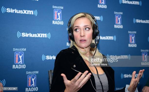 Paige Spiranac speaks at the PGA Merchandise Show on January 22, 2020 in Orlando, Florida.
