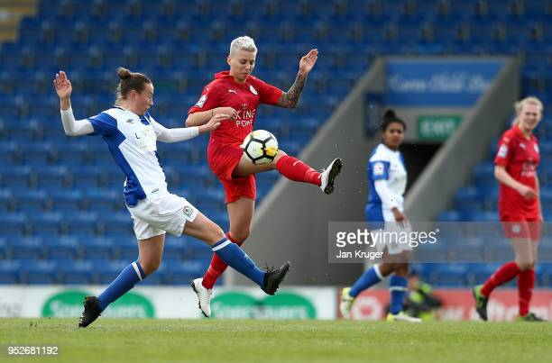 Paige Stewart Leicester City Women battles with Jess Holbrook of Blackburn Rovers during the FA Women's Premier League Cup Final between Blackburn...