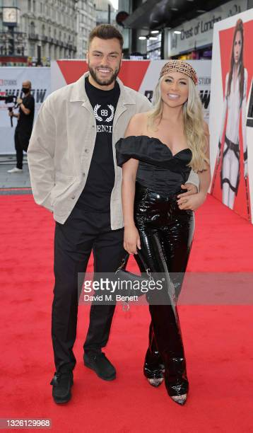 """Paige Turley and Finley Tapp attend the World Premiere fan even for Marvel Studios' """"Black Widow"""" at Cineworld Leicester Square on June 29, 2021 in..."""