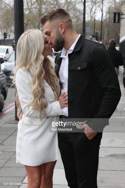 Paige Turley and Finn Tapp seen arriving for the TRIC Awards at Grosvenor House on March 10 2020 in London England
