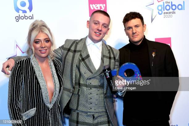Paige Turley Jimmy Hill and Aitch with the Rising Star Award during The Global Awards 2020 at Eventim Apollo Hammersmith on March 05 2020 in London...