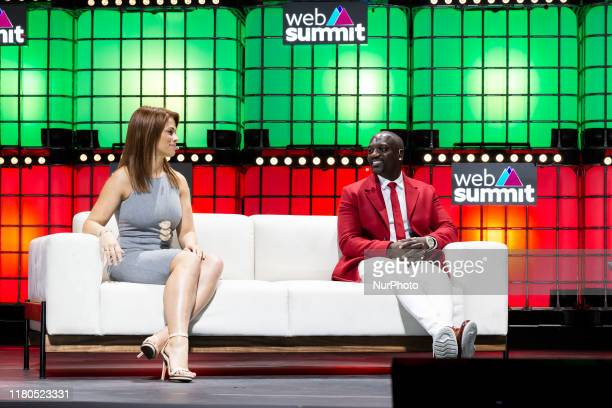 Paige VanZant Akon speak during day three of the Web Summit 2019 in Lisbon Portugal on November 6 2019