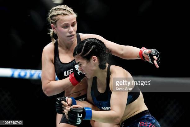 Paige VanZant fights against Rachael Ostovich during their Women's Flyweight fight at UFC Fight Night at Barclays Center on January 19 2019 in New...