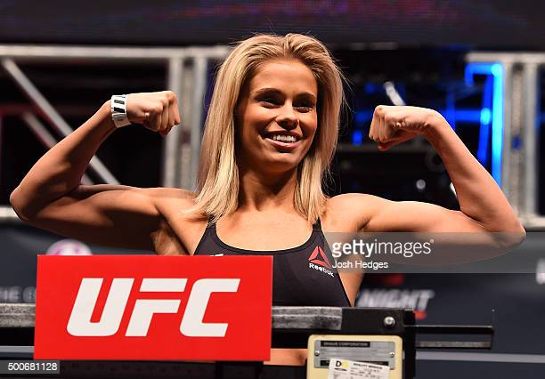 Paige VanZant weighs in during the UFC Fight Night weighin inside MGM Grand Garden Arena on December 9 2015 in Las Vegas Nevada
