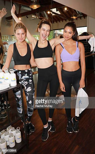 Paige Watkins Devon Carlson and Amanda LiPaige attend the Supergoop #ProtectYourPosse event with Maria Sharapova on January 10 2017 in Los Angeles...