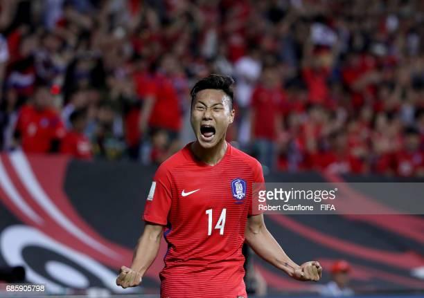 Paik Seungho of Korea Republic celebrates after scoring a goal during the FIFA U-20 World Cup Korea Republic 2017 group A match between Korea...