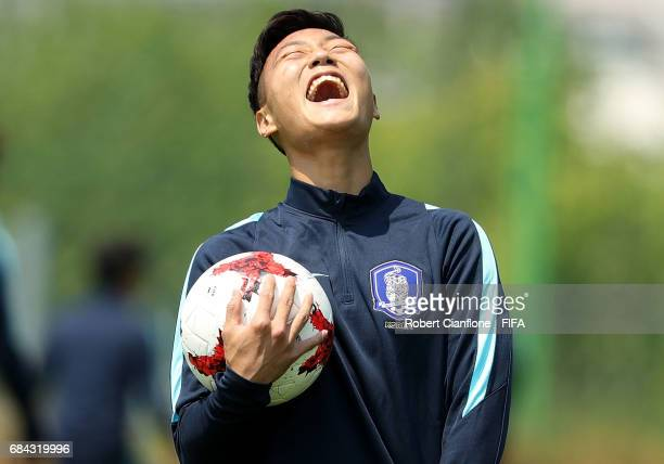 Paik Seungho of Korea Republic laughs during a training session at the U20 World Cup training field ahead of the FIFA U20 World Cup on May 18 2017 in...