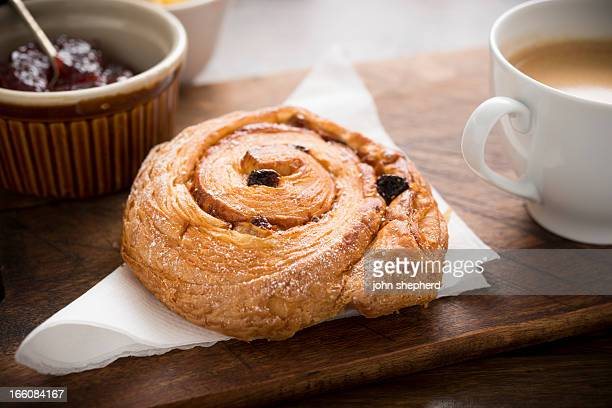 Pain aux raisin with Coffee.