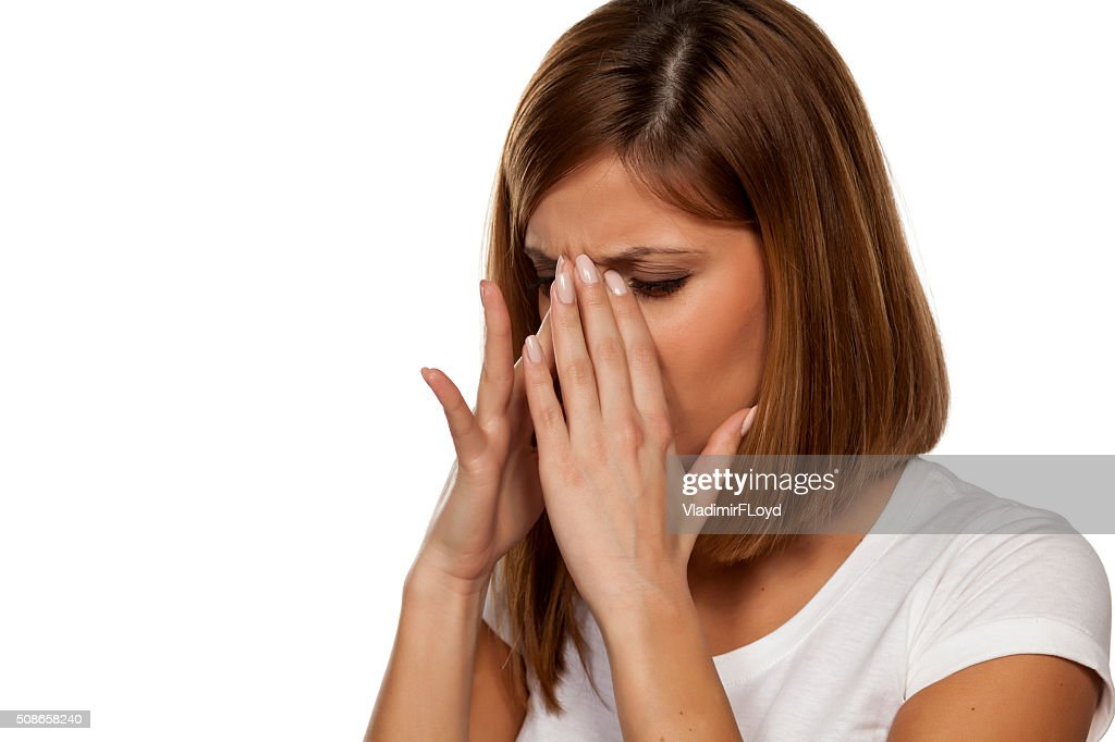 painful sinuses : Stock Photo
