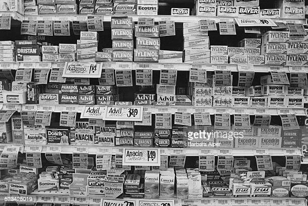 Painkillers on the shelf of a drugstore in New York City USA September 1988