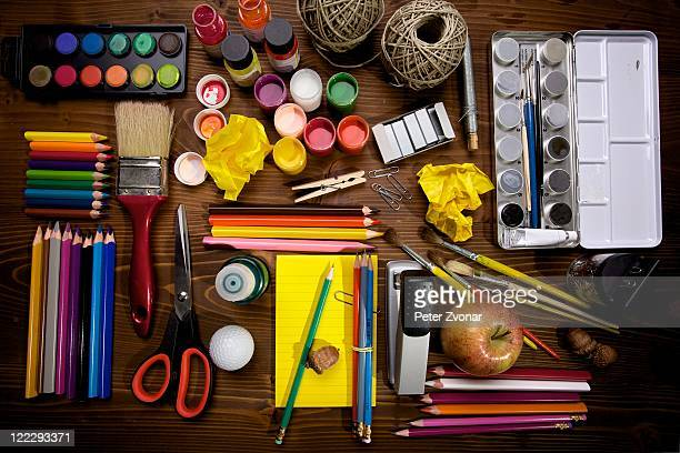 paint and brush - art and craft equipment stock pictures, royalty-free photos & images