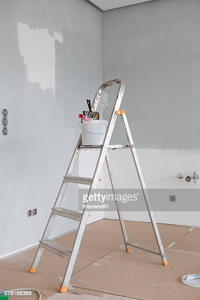 Paint bucket and roll on ladder