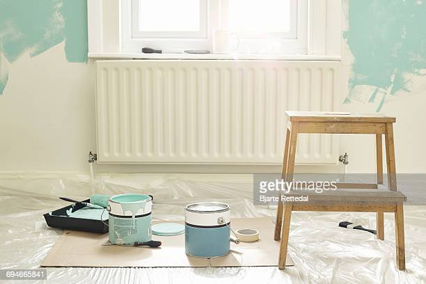paint buckets ready for decorating - renovation stock pictures, royalty-free photos & images