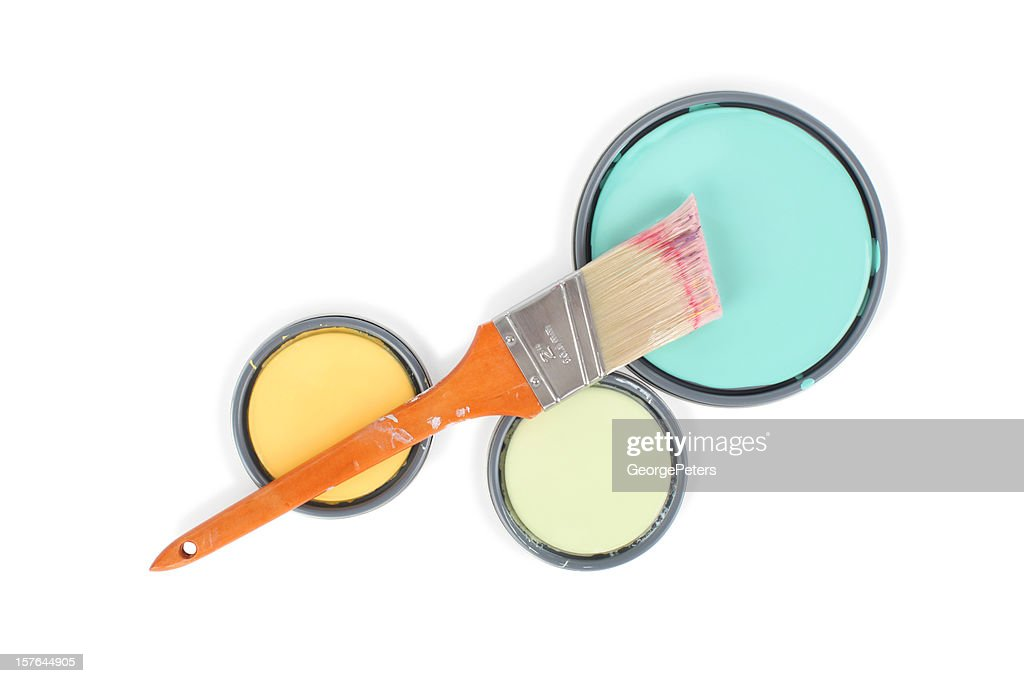 Paint Can Lids and Brush with Clipping Path : Stock Photo