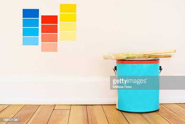 Paint can with color swatches