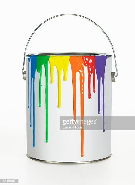 Paint Can With Rainbow Colored Drips on White