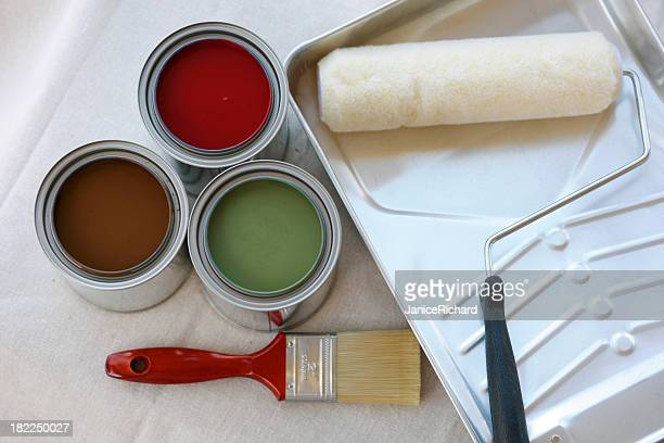 Paint Cans with Tray, Brush and Roller