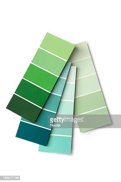 paint: colour samples green - color swatch stock pictures, royalty-free photos & images