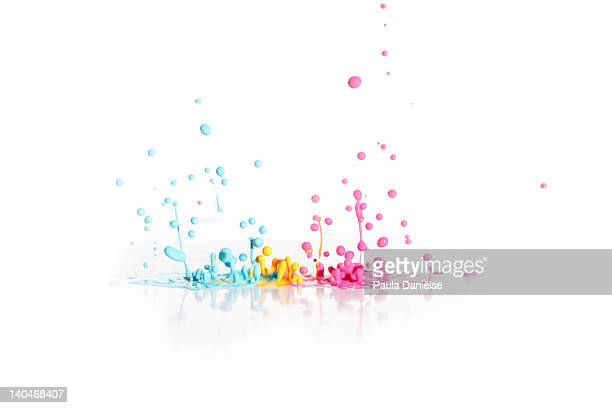 Paint droplets on white background