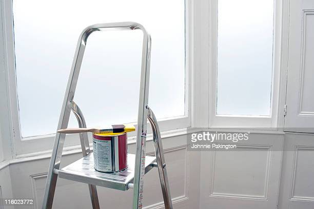Paint pot stepladder and window