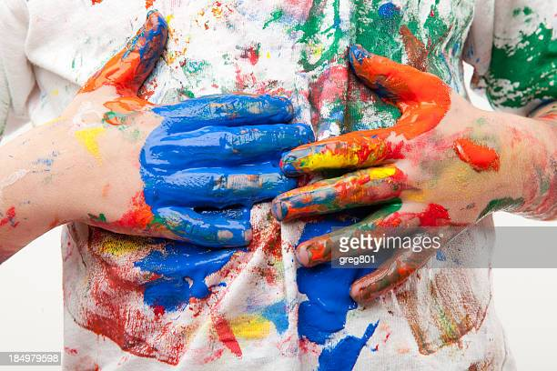 paint soiled hands being wiped on a white shirt - all shirts stock pictures, royalty-free photos & images
