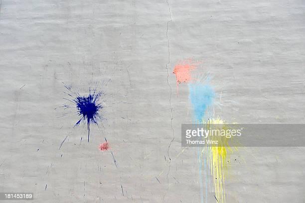 Paint splatters on an outside wall