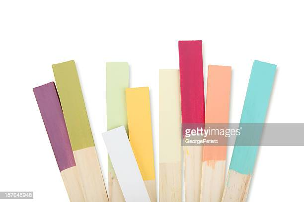 paint stir sticks color swatches - color swatch stock pictures, royalty-free photos & images