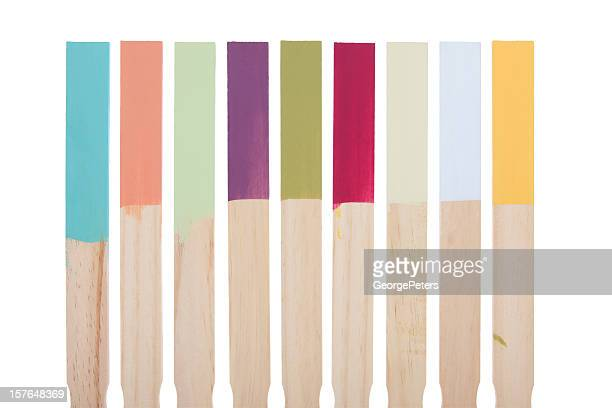 paint stir sticks color swatches with clipping path - color swatch stock pictures, royalty-free photos & images