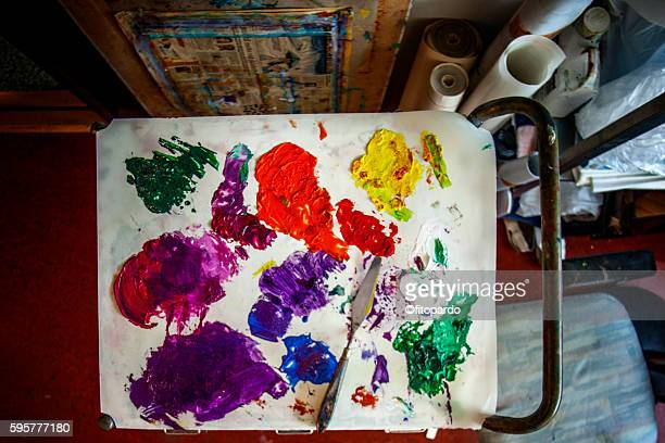 Paint strokes on a palette , paintor paintbrushes,