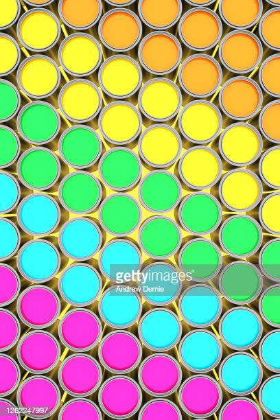 paint tins, abstract - andrew dernie stock pictures, royalty-free photos & images
