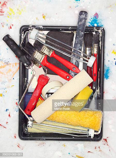 Paint tray full of decorating equipment, overhead view