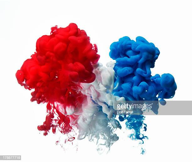 Paint under water, red white and blue