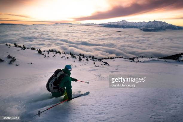 paint your line down the mountain - slovenia stock pictures, royalty-free photos & images